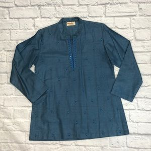 Silk top by Fabindia. Blue/button/sequin Large *